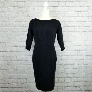 Boden black ribbed knit 3/4 sleeve sheath dress
